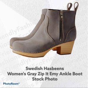Swedish Hasbeens Women Gray Zip It Emy Ankle Boot